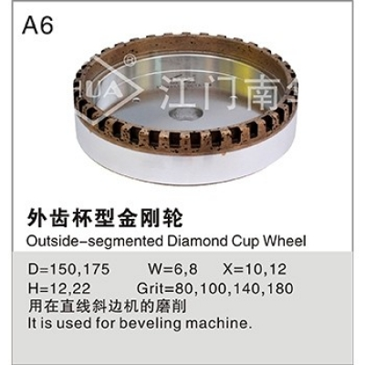 Outer tooth cup type diamond wheel